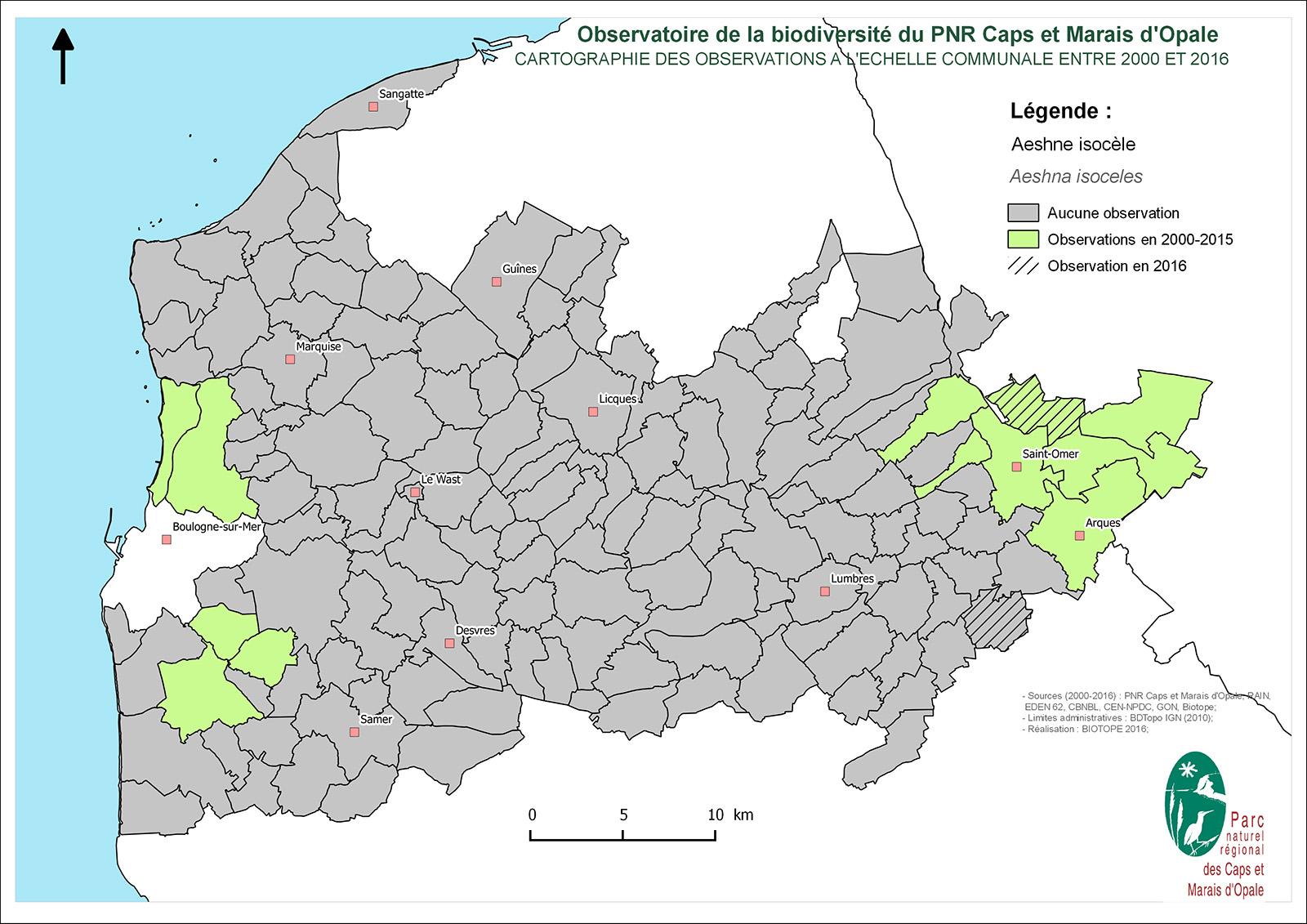 Présence /Absence de l'Aeschne isocèle par commune sur le territoire du PNRCMO (PNRCMO, 2016)