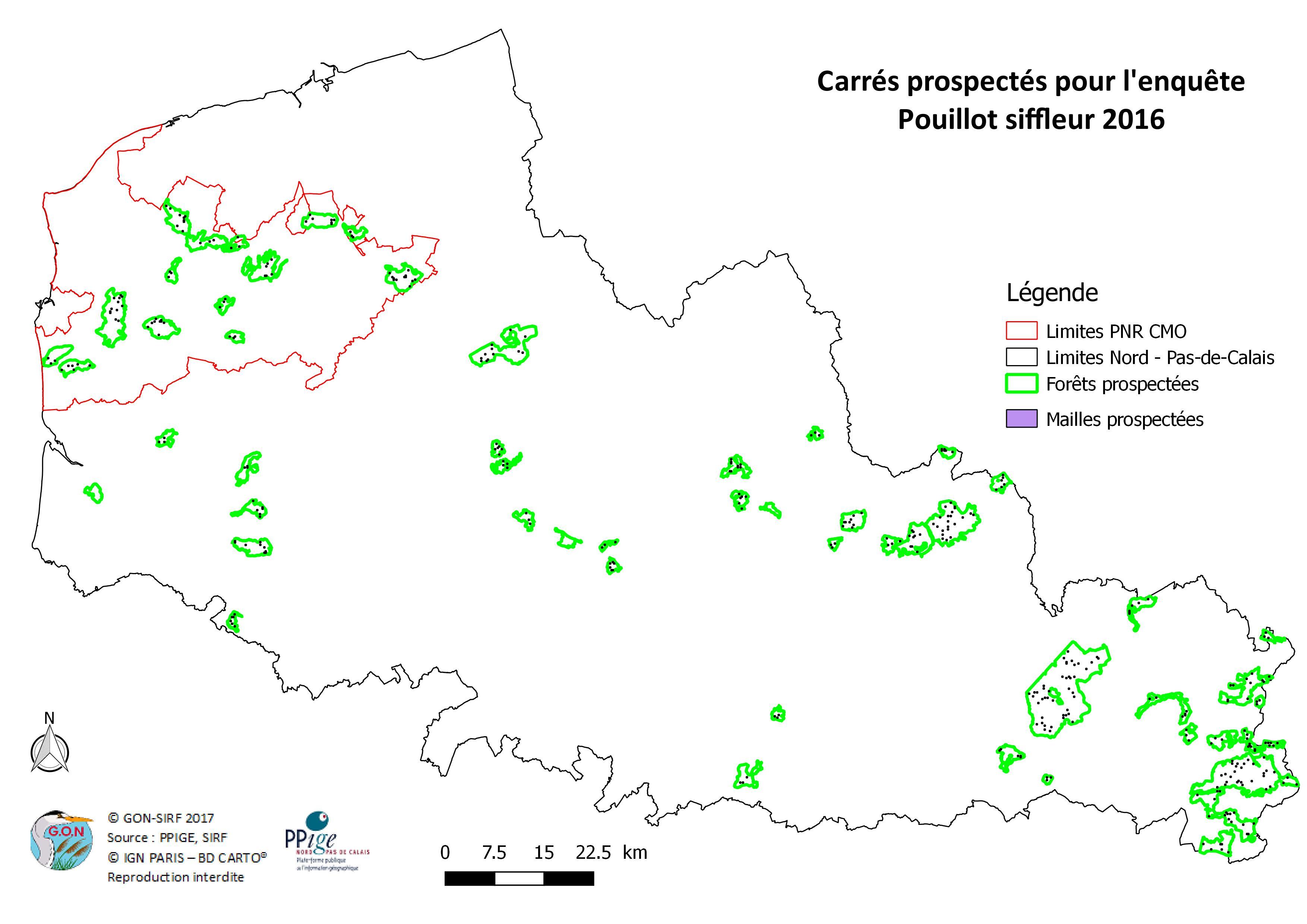 Localisation des points d'écoute réalisés et des mailles prospectées recensés au cours de l'enquête 2016 sur le Nord et le Pas-de-Calais (Mahiez & Beaudoin, 2016)