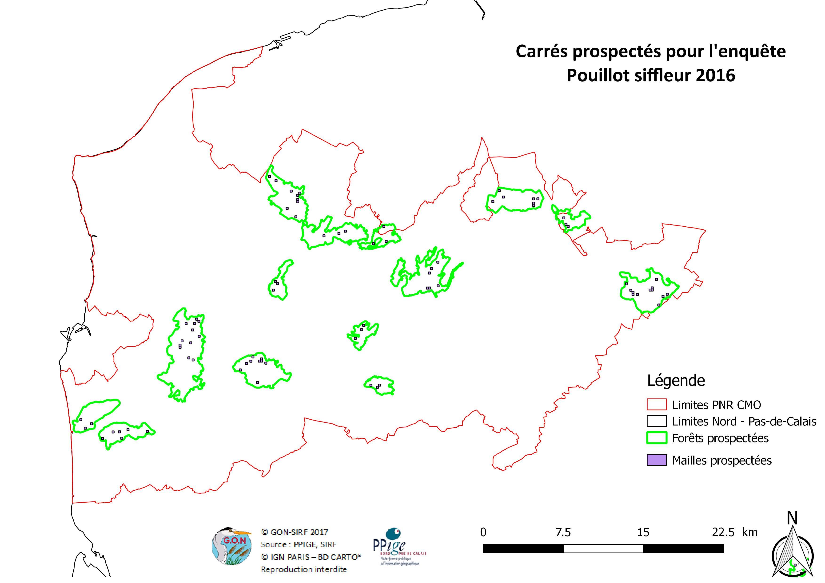 Localisation des points d'écoute réalisés et des mailles prospectées recensés au cours de l'enquête 2016 sur le territoire du PNR CMO (Mahiez & Beaudoin, 2016)
