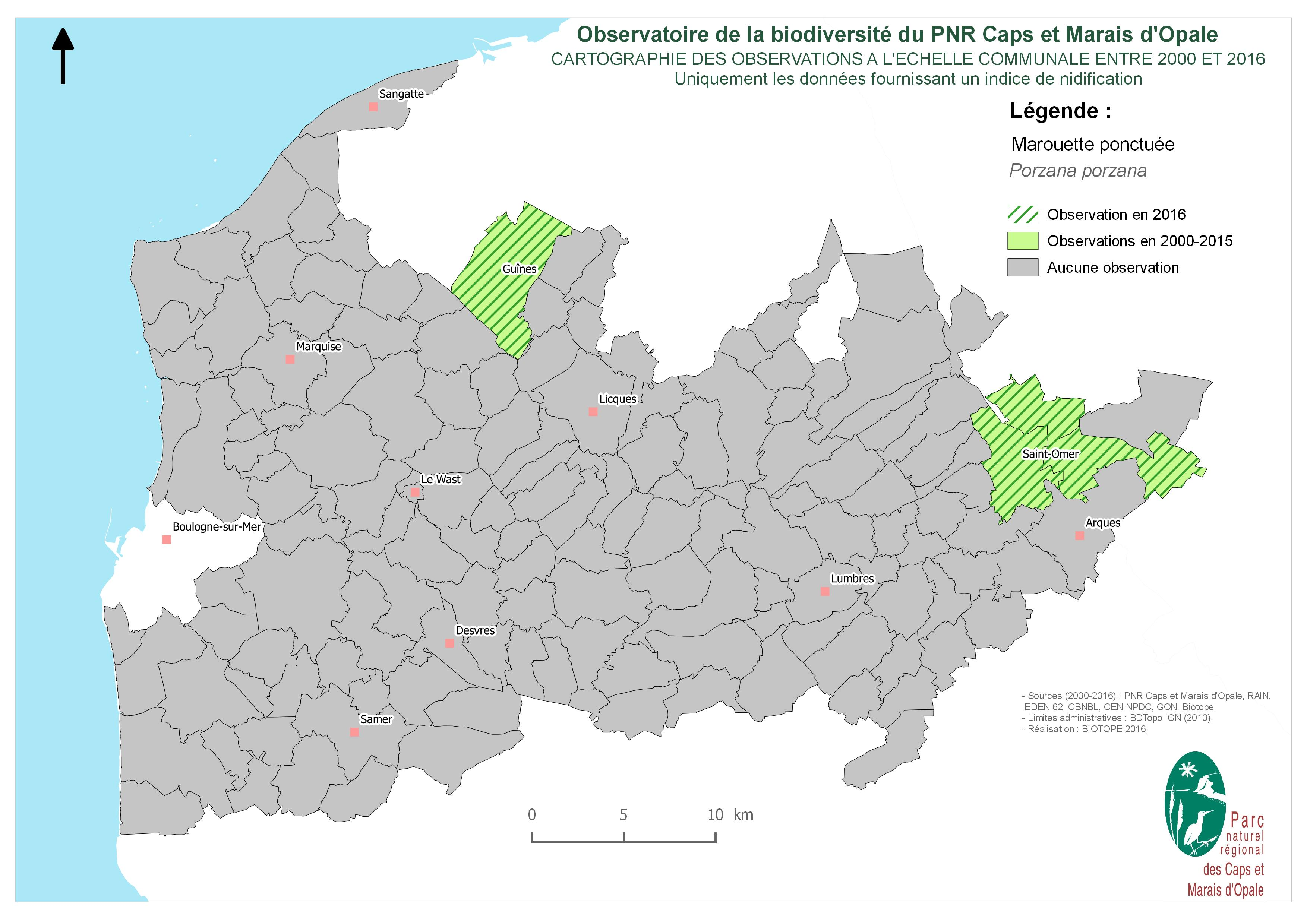 Cartographie des observations à l'échelle communale de Marouette ponctué (avec comportement de nicheur avéré) entre 2000 et 2016 (SIRF, 2017)