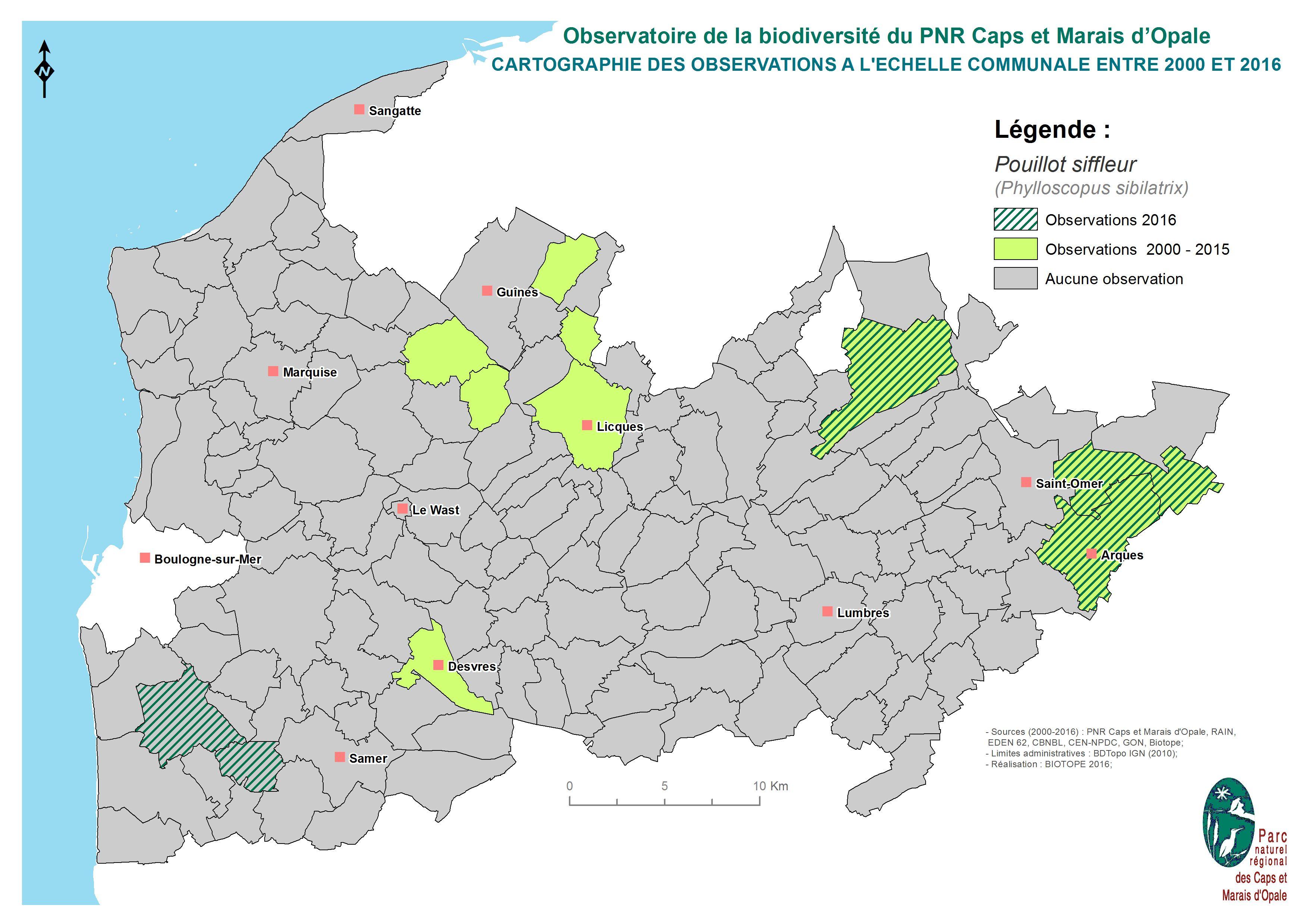 Cartographie des observations à l'échelle communale de Pouillot siffleur entre 2000 et 2016 (SIRF, 2017)