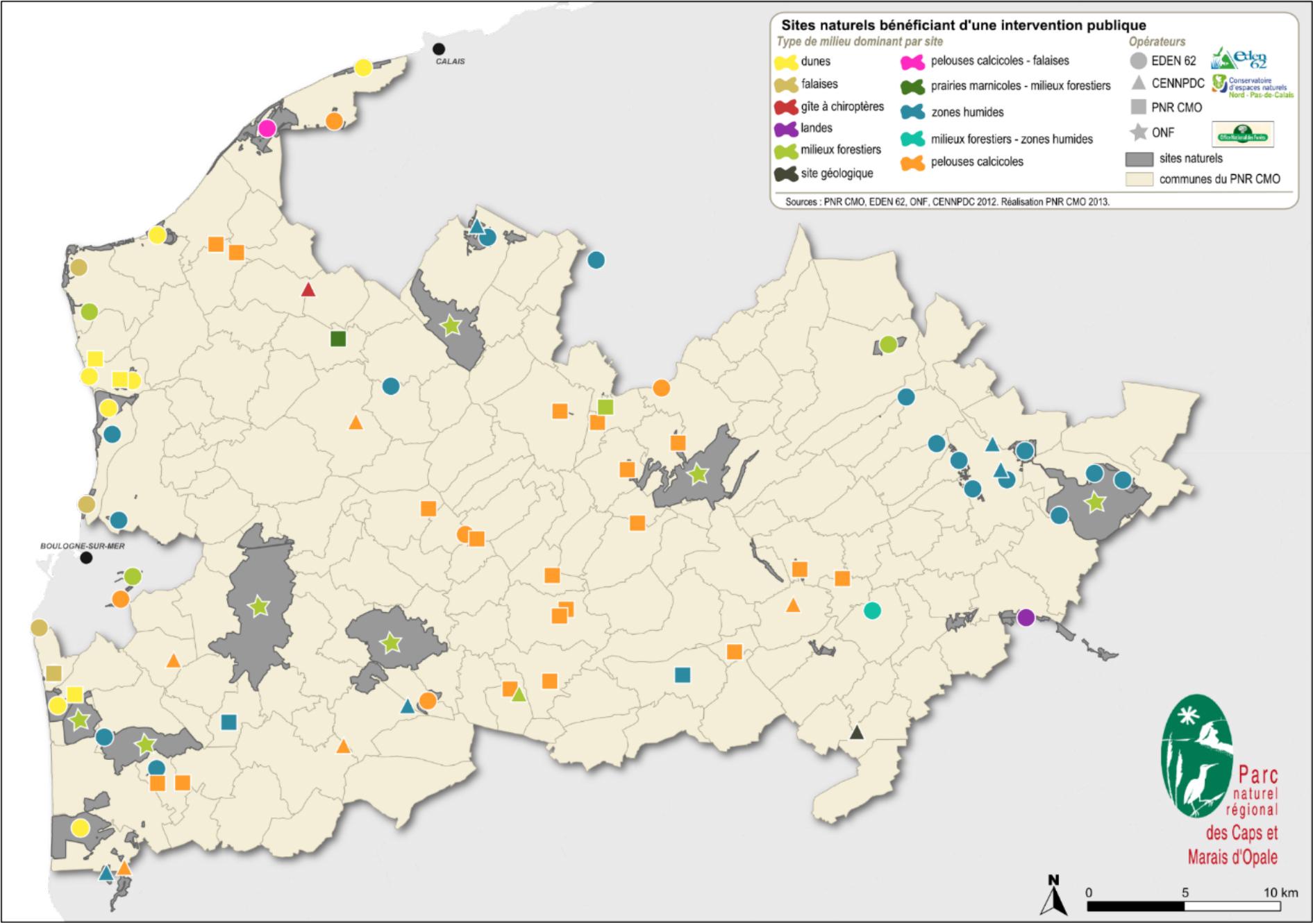 Les sites naturels bénéficiant de l'intervention publique